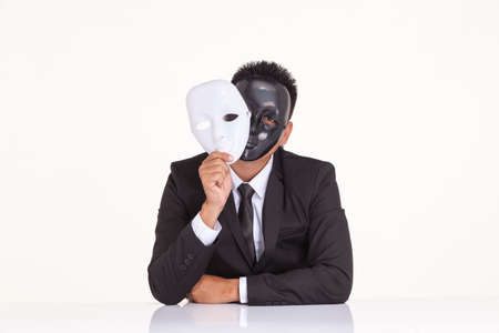 insincere: insincere espionage businessman swap the fancy mask