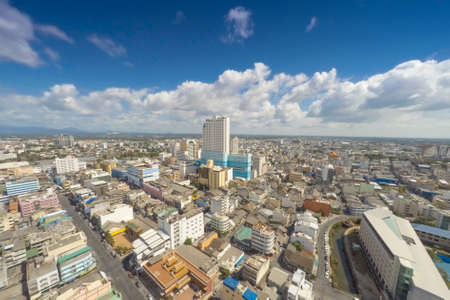 High angle view of Hat Yai city. Songkhla, Thailand. Daytime with very clear sky and nice cloud.