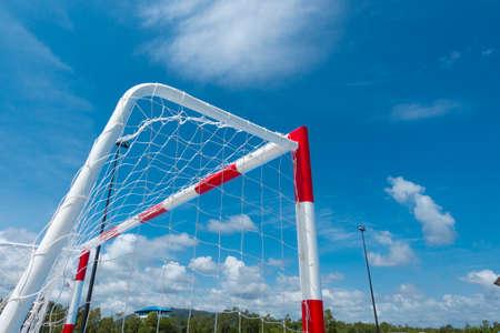 stonemason: futsal soccer goal with clear sky