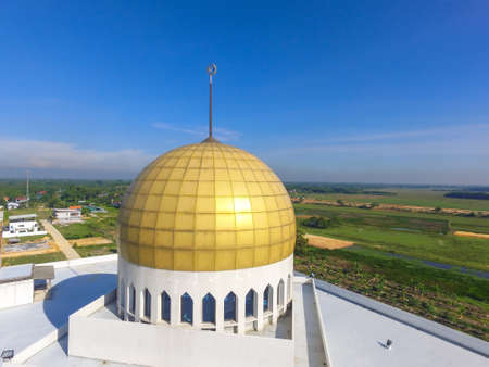 Central Mosque of Songkhla, Thailand. Aerial shot in sunny day.
