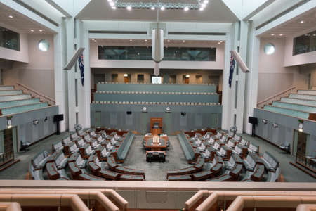 CANBERRA, AUSTRALIA - AUG 07,2016: Inside House of Representatives, the lower house of the bicameral Parliament of Australia. Aug 7, 2016 Canberra Australia