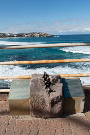 SYDNEY, AUSTRALIA - AUG 8, 2016 : A memorial to Black Sunday at Bondi Beach in Australia. Editorial