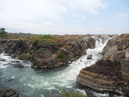 Mekong river, Salaphet waterfall, Stung Treng, Cambodia Banque d'images