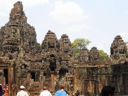 Angkor Thom, Bayon and visitor ,Siam Reap, Cambodia Stock Photo