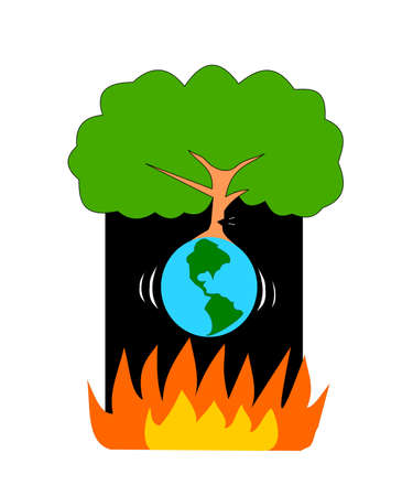 The tree is cut down, causing the planet to shake and will fall into the flame, The world is suffering from global warming 矢量图像