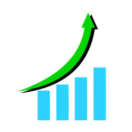 Growth diagram with green color arrow going up with blue bar chart  isolated on white background, Success business symbol concept, Financial constantly growing