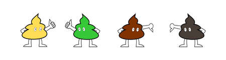 Color of the stools showing the good or bad side of health, Thumbs up and thumbs down by the cartoon character of the lump stool, Yellow with green with brown and black color poop on white background