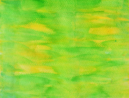 Green color stains flow on yellow surface , Illustration abstract watercolor hand draw on paper