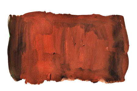 Brown stains flow on black color surface , Abstract background and illustration from acrylic color painting isolated on white background