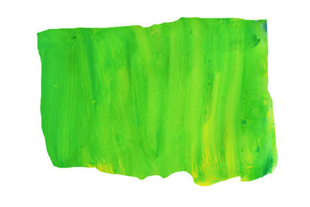 Yellow stains flow on green surface , Abstract background and illustration from acrylic color painting isolated on white background Standard-Bild