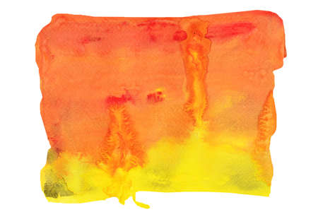 Red and orange color stains flow on yellow surface , Abstract background and illustration from acrylic color painting isolated on white background