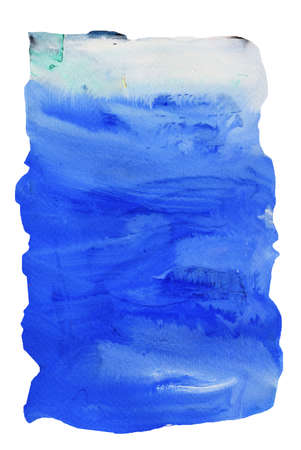 White stains flow on blue surface , Abstract background and illustration from acrylic color painting isolated on white background Standard-Bild