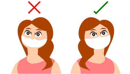 What to do and what not do not when you wear a face mask, Woman  wearing a mask inappropriately because her nose was not covered,  Vector illustration of COVID-19 concept isolated on white background