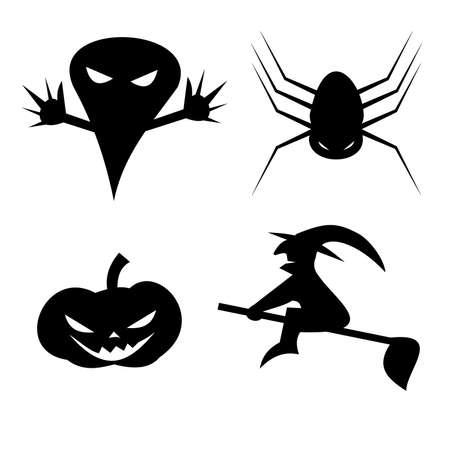 Silhouette of Halloween party icon on white
