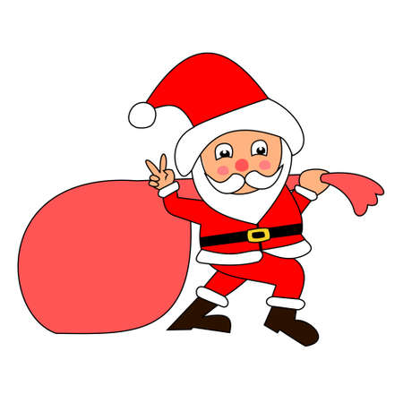 Santa Claus pulling huge bag of gifts isolated on white background, The men with v sign hand