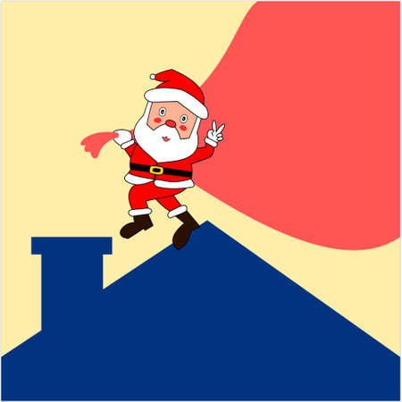 Santa Claus carrying a gift bag walked to the chimney on blue roof, Cartoon and graphic design with the concept of Christmas and New Year celebration with yellow background, , Old men with v sign hand