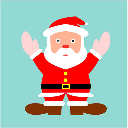 Santa Claus is standing and spreading his arms to experience the cold weather of winter, Cartoon and graphic design with the concept of Christmas on blue background Illustration