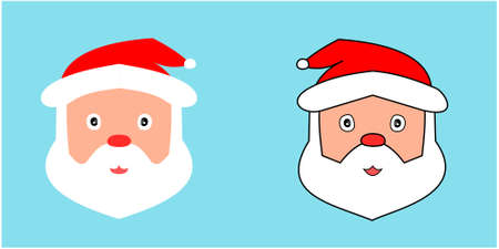 Two Santa Claus's face with white beard and red hat on bright blue background, Cartoon and graphic design with the concept of Christmas Illustration
