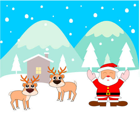 Santa Claus standing and spreading his arms to experience the cold weather of winter, Two reindeer with house in the valley covered with snow, Pine forest with green mountain and blue sky