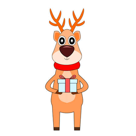 Reindeer standing and holding a gift box, Deer wearing a red scarf isolated on white background, Cartoon and graphic about Christmas and New Year's celebration Illustration