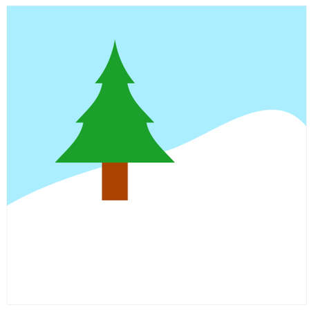 Pine tree on a hill covered with snow and blue sky in background, Symbol and concept of Christmas and winter