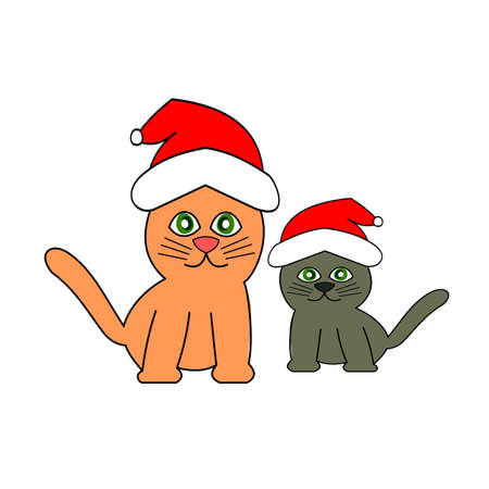 An orange color cat and a gray kitten wearing santa claus hat isolated on white background, Cartoon and graphic about Christmas pets and New Year's celebration