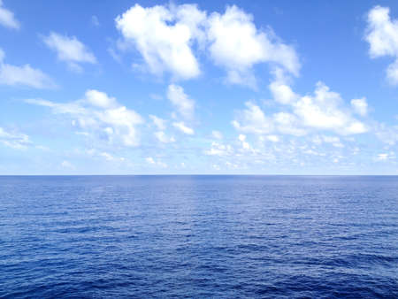 Horizon of the sea, blue sky in deep water Andaman sea from seismic vessel Stock Photo