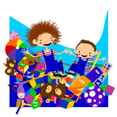 baby playing toy: Children playing Illustration