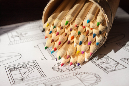 stres: colored pencils and coloring sheet background