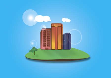 borough: Drawing, illustration, icon flat city