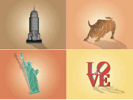 ikon: : Icons, illustration attractions in New York USA