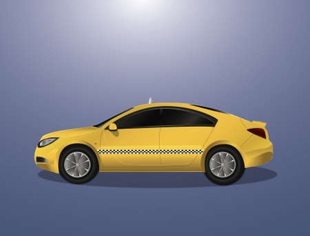 hackney carriage: Yellow car taxi (icon, illustration) Illustration