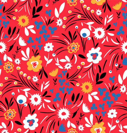 Seamless blossom pattern. Abstract floral background.