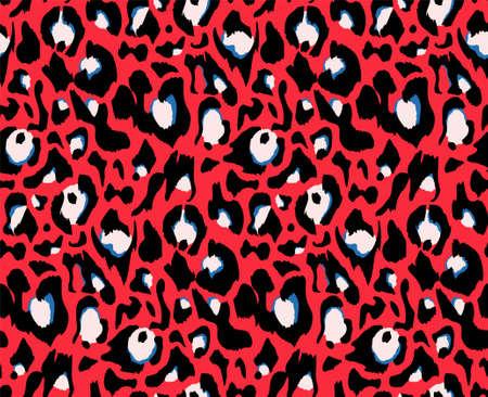 Leopard pattern design, vector illustration background. Animal design. Red, blue, white, black colors. Textile print. Illustration