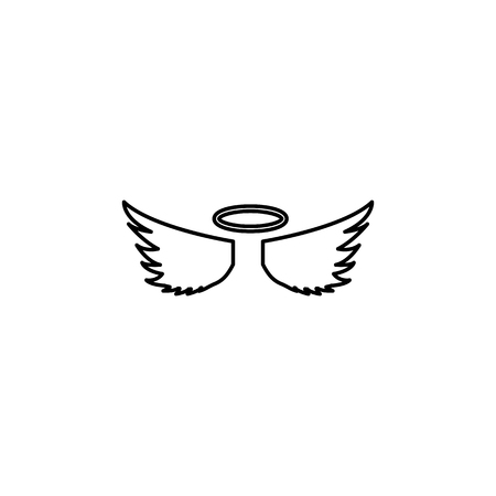 angel wings and halo icon on white background Stock Illustratie