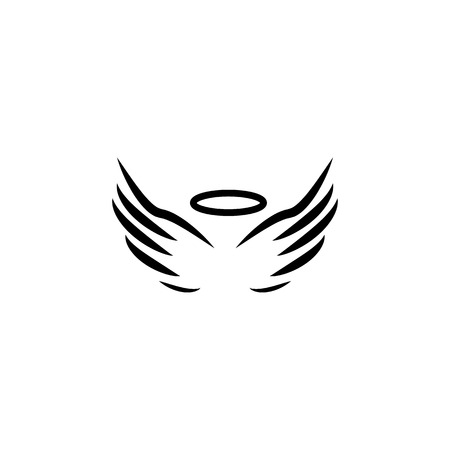 angel wings and halo icon on white background 矢量图像