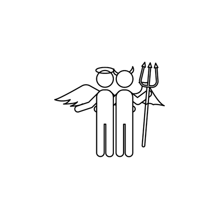 Angel and demon line icon on white background