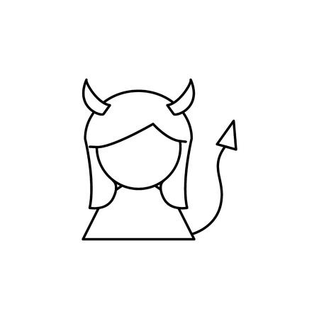 Devil girl line icon on white background