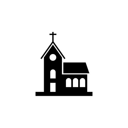 church building icon on white background 向量圖像
