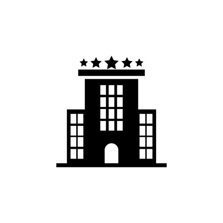 Hotel building icon on white background. 일러스트