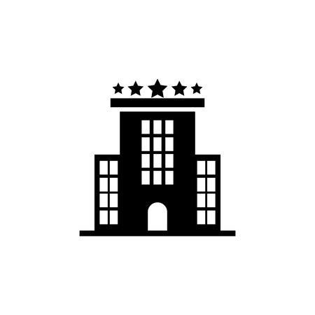 Hotel building icon on white background. 向量圖像