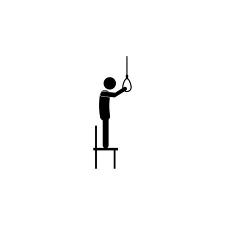 suicide by rope icon on white background