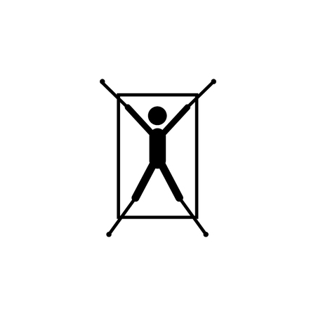 Rope in hands torture icon on white background 일러스트