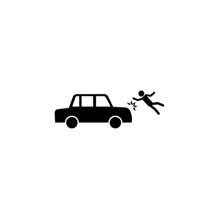 man hit by a car icon on white background