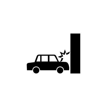 Car crash, auto crashes into the wall icon on white background