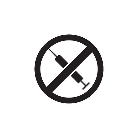 No Drugs syringe, prohibited sign icon on white background Illustration