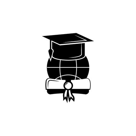 Abschlusskappe oder Hut mit Diplom Vektor-Symbol Vektorgrafik