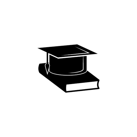 Book and bachelor hat vector icon.