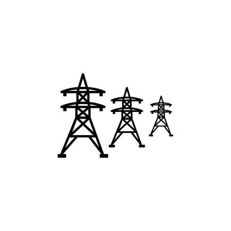 High voltage power lines icon on white background.