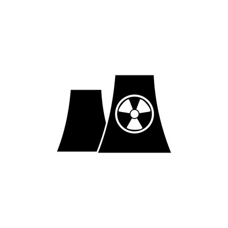 Nuclear power plant silhouette icon on white background. Illustration
